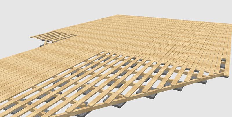 Planung einer Terrasse aus Robinie in 3D.