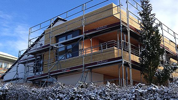 Fassade aus 50mm Rhombusprofil der Robinie.