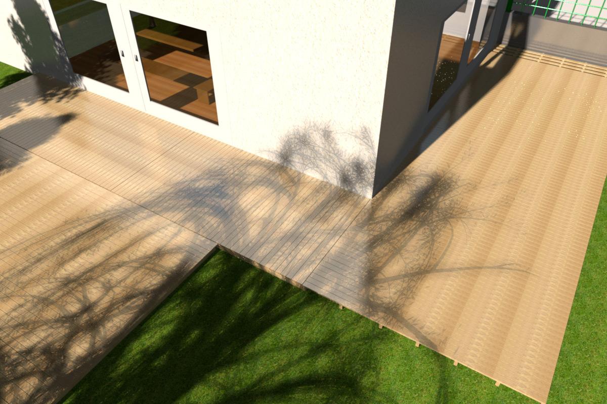Aufwändige 3D Ansicht einer großen Terrasse aus Robinie in München.