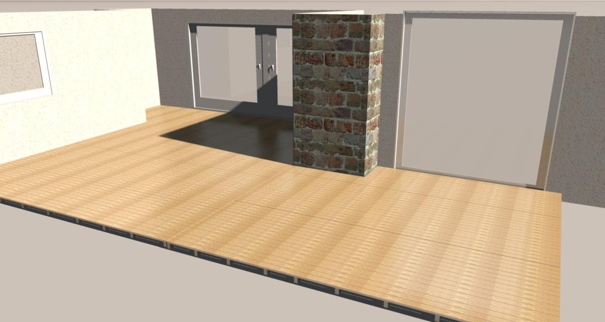 3D-Planung der neuen Terrasse aus unserem Robinienholz.