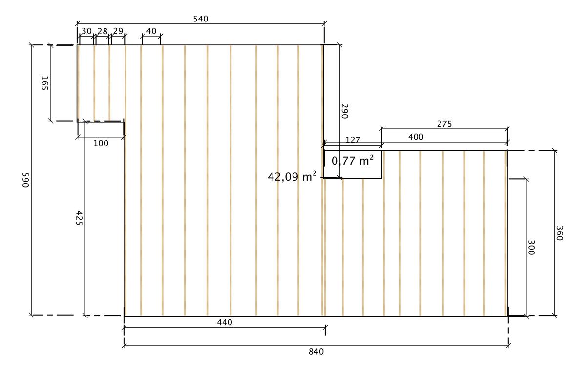 Ein Verlegeplan für die Unterkonstruktion aus Robinienholz.