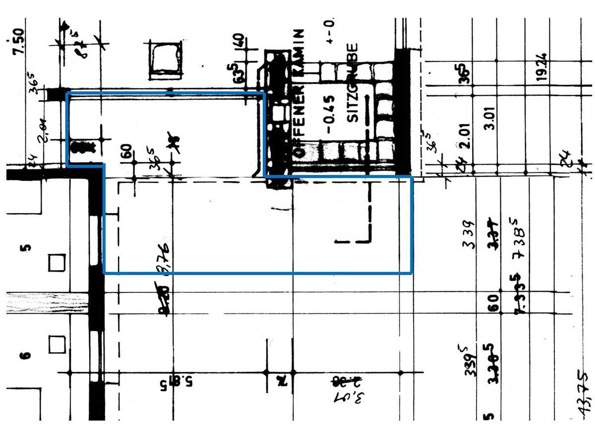 Skizze / Plan der Fläche für eine Robinienterrasse